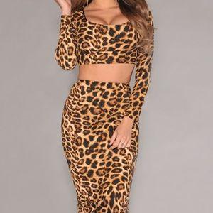 Leopard Print 2 Piece Skirt Set